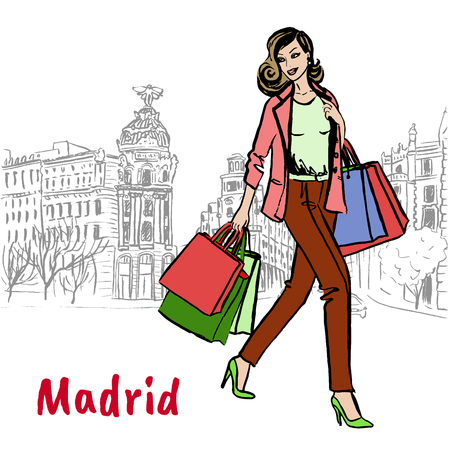 madrid: woman with shopping bags
