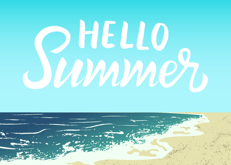 summer sky: Illustration of ocean, sand beach and blue sky. Hello Summer lettering Illustration
