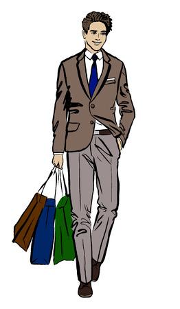 Man with shopping bags. Hand-drawn illustration. Fashion sketch Illustration