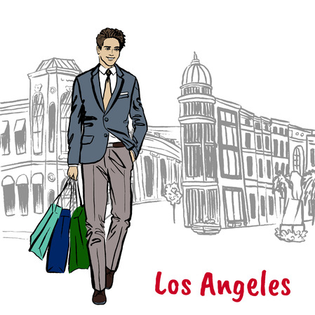 Walking man with shopping bags in Los Angeles. Hand-drawn illustration. Fashion sketch Illustration