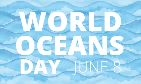 World Oceans Day background with blue waves