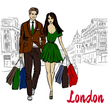 regent: Walking woman and man with shopping bags in London, United Kingdom. Hand-drawn illustration. Fashion sketch