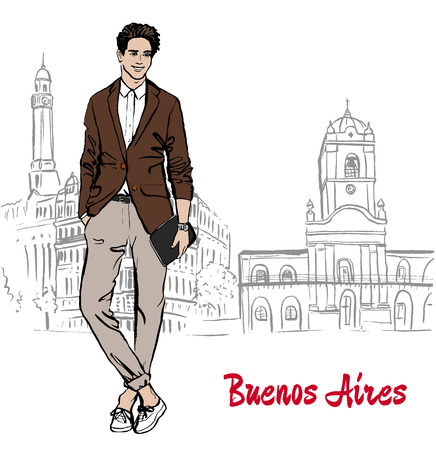 retail scene: Hand-drawn sketch man on Plaza de Mayo, Bueno Aires, Argentina Illustration