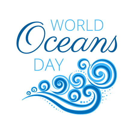 World Oceans Day logo with blue waves