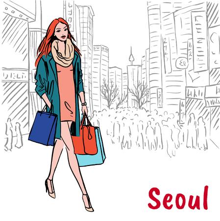 shopping street at Myeongdong Illustration