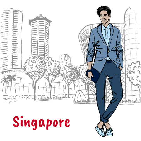 Hand-drawn sketch man on Orchard Road in Singapore