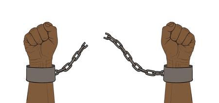 Hands with broken chain Stock Illustratie