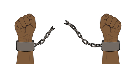Hands with broken chain Illustration
