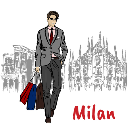 happy shopper: Sketch of man with shopping bags Stock Photo