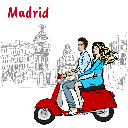 Man and woman driving scooter Illustration