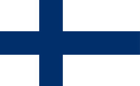 Bandera de Finlandia con cruz escandinava azul