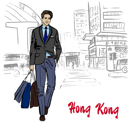 man on Hong Kong Stock Photo