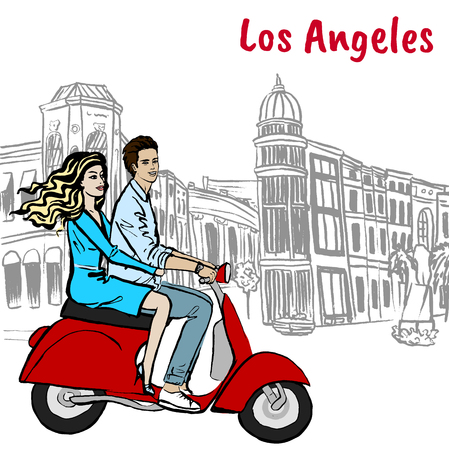 scooter driving on Rodeo Drive Illustration