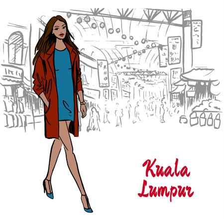 chinatown: woman in Kuala Lumpur Illustration