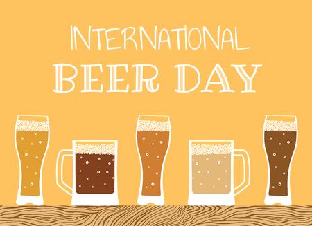 Feliz dia internacional da cerveja Foto de archivo - 81568364
