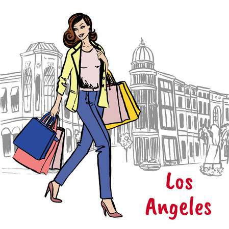 Woman with shopping bags on Rodeo Drive Illustration