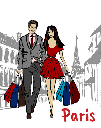 A couple with shopping bags.
