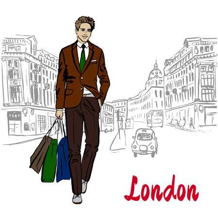 A man with shopping bags.