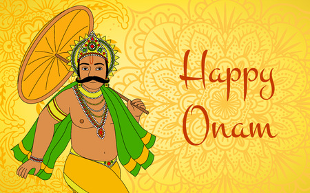Happy Oman. King Mahabali. Greeting card for South Indian festival