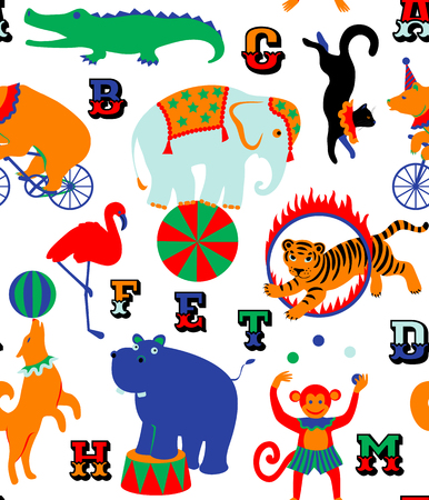 Circus cartoon animals. Seamless pattern for children Illustration