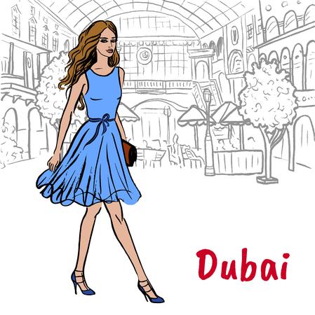 Walking woman in shopping mall in Dubai, United Arab Emirates. Hand-drawn illustration. Fashion sketch