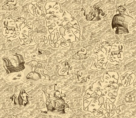 Old vintage map with islands, ships, monsters and mermaids. Seamless background Vectores
