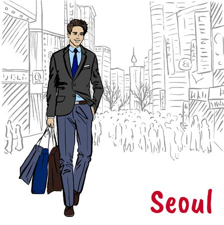 Hand-drawn sketch of man at Myeongdong, Seoul, South Korea