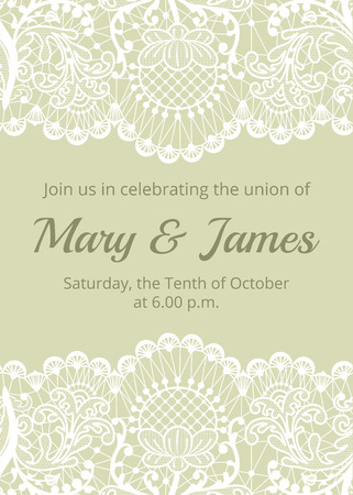 ribbon: Wedding invitation template with white lace border on green background Illustration
