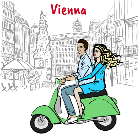 Couple driving scooter in Vienna