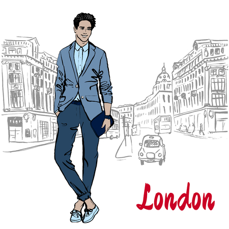 Man with tablet in London Illustration