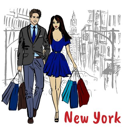 Young man and woman in New York
