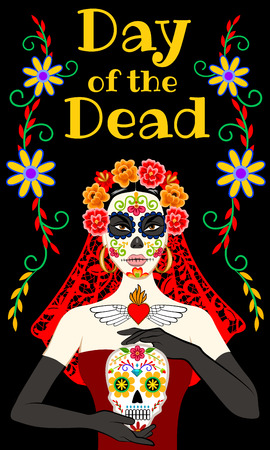 Banner design for Day of the Dead with sugar skull.