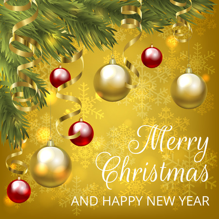 Christmas yellow card Illustration