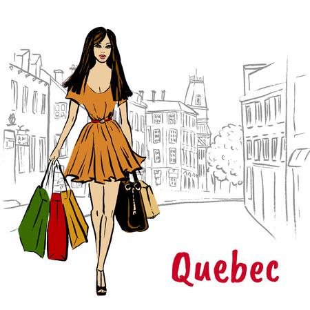 Women with shopping bags walking on St Jean Street.