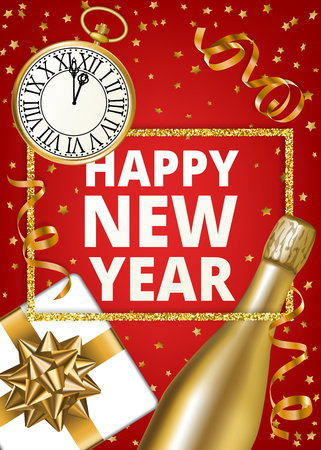 happy new year banner in blue background with sparkling stars vintage clock and wine bottle