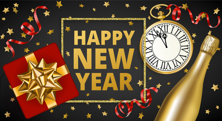 happy new year banner in dark background with sparkling stars vintage clock and wine bottle