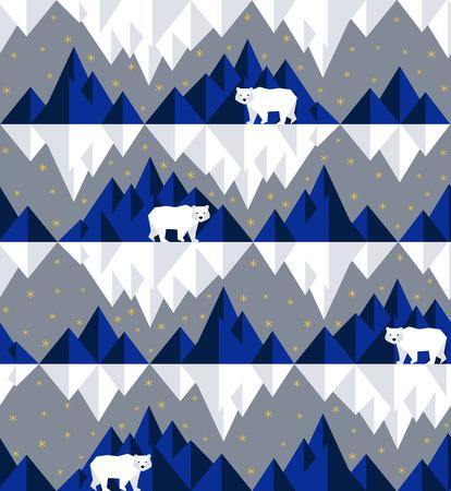 Polar bear on iceberg on geometric pattern