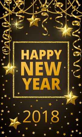 happy new year banner in a dark background with sparkling stars and golden curly ribbon stock
