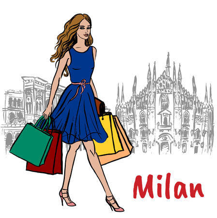Woman in Milan carrying shopping bags in front of a cathedral Illustration