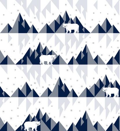 Polar bear on iceberg in geometric background