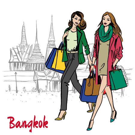 Femme près de Grand Palais et Wat Prakeaw vector illustration Banque d'images - 91193445