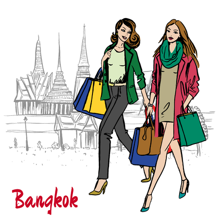 Woman near Grand Palace and Wat Prakeaw vector illustration