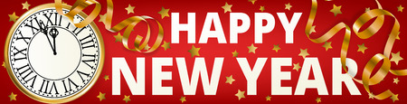 Happy New Year with golden serpentine streamers on red background Illustration