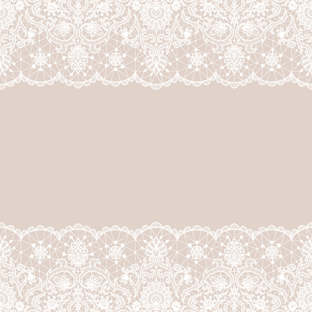 Seamless white lace Vector illustration.