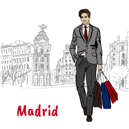 Man walking in Madrid, Spain. Hand-drawn illustration. Fashion sketch
