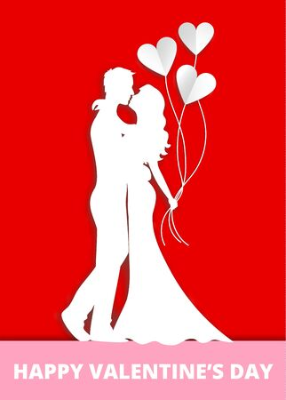 Valentines day greeting card showing couple in love with heart balloons.