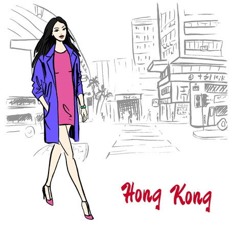Hand-drawn schets van vrouwen in Hong Kong-straat in China Stock Illustratie