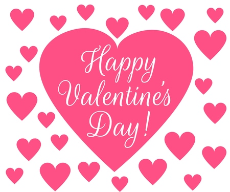 Happy Valentines Day background with hearts border
