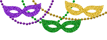 Mardi Gras decoration with beads and masks Stock Illustratie