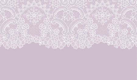 Horizontally seamless lilac lace background with floral pattern